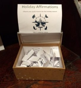 Holiday affirmation box at True North Yoga's Keene Valley studio